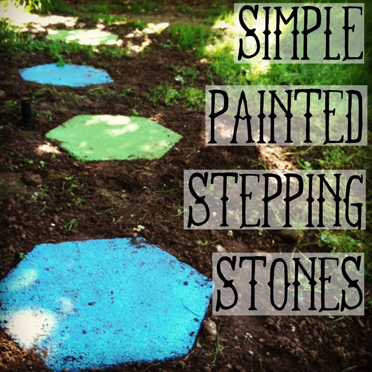 Spray painted stepping stones for Stone spray paint projects
