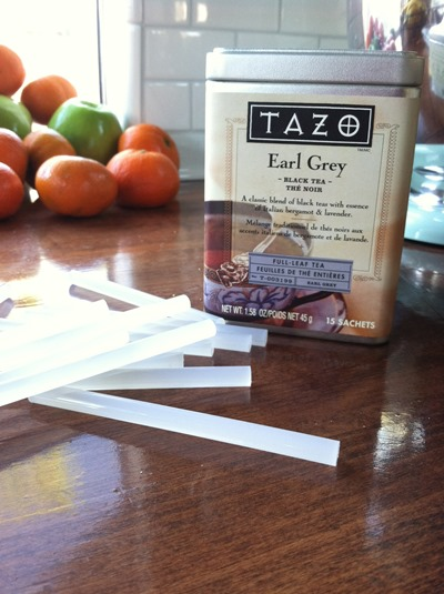 tea and glue sticks