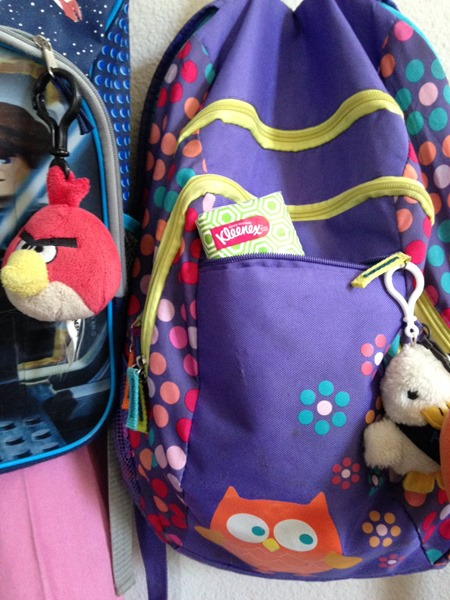 kleenex in the kiddos' backpacks